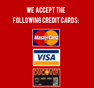 Credit cards accepted: Visa, Mastercharge, Discover