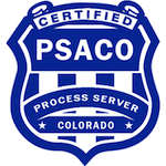 Badge showing the PSWI is a Certified Member of the Process Server Association of Colorado.