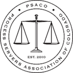 Process Servers Association of Colorado Membership badge showing the scales of Justice